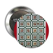 "Christmas Holiday Quilt 2.25"" Button (100 pack)"