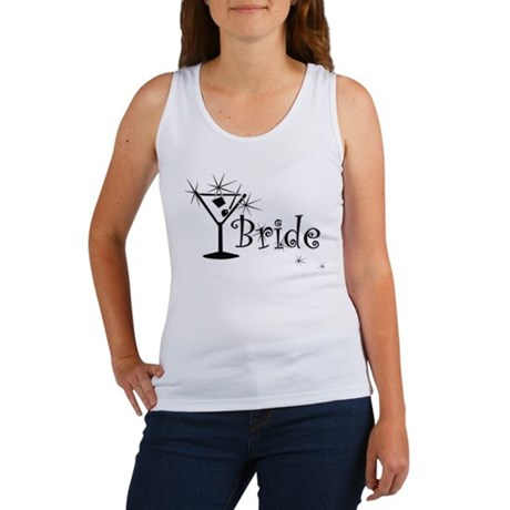 Black Curly Martini Bride Women's Tank Top