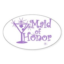 Purple C Martini Maid Honor Oval Decal