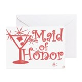 Red C Martini Maid Honor Greeting Cards (Pk of 10)