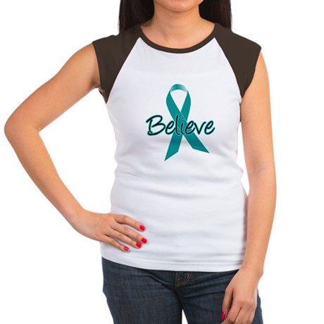 Ovarian Cancer Believe Women's Cap Sleeve T-Shirt