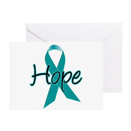 Hope Teal Ribbon Greeting Cards (Pk of 10)