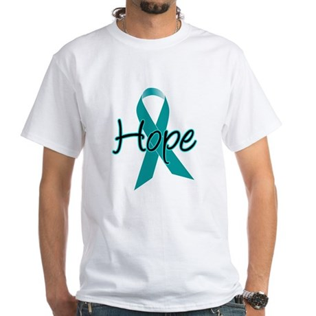 Hope Teal Ribbon White T-Shirt
