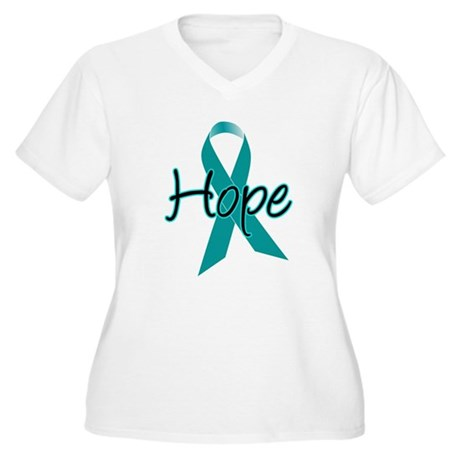 Hope Teal Ribbon Women's Plus Size V-Neck T-Shirt