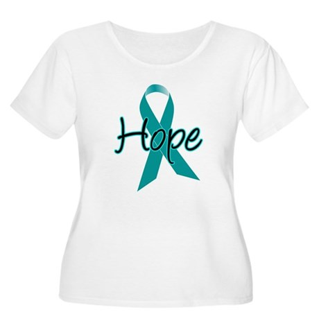 Hope Teal Ribbon Women's Plus Size Scoop Neck T-Sh