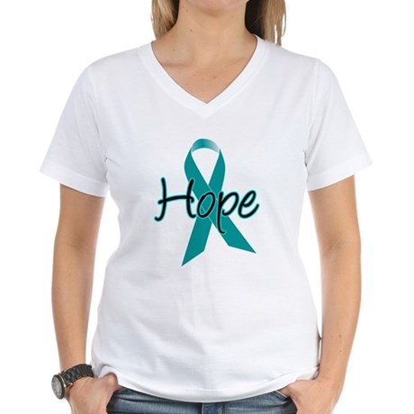 Hope Teal Ribbon Women's V-Neck T-Shirt