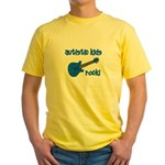Autistic Kids Rock! Blue Guit Yellow T-Shirt