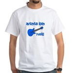 Autistic Kids Rock! Blue Guit White T-Shirt