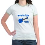 Autistic Kids Rock! Blue Guit Jr. Ringer T-Shirt