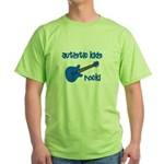 Autistic Kids Rock! Blue Guit Green T-Shirt
