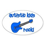 Autistic Kids Rock! Blue Guit Oval Sticker