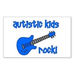 Autistic Kids Rock! Blue Guit Rectangle Sticker