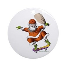 Skateboarding Santa Ornament