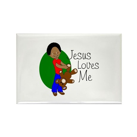 Jesus Loves Me Rectangle Magnet (10 pack)