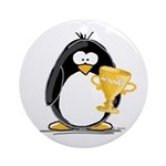 Trophy Winner Penguin Ornament (Round)