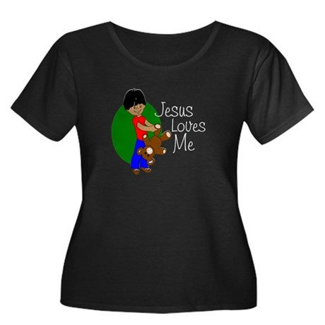 Jesus Loves Me Women's Plus Size Scoop Neck Dark T