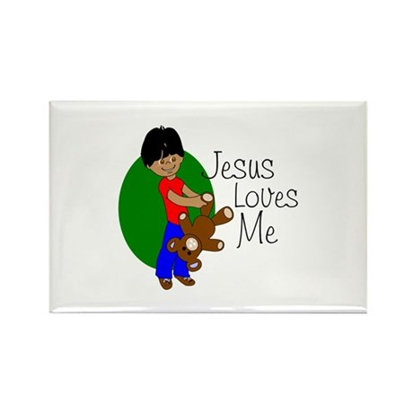 Jesus Loves Me Rectangle Magnet (100 pack)