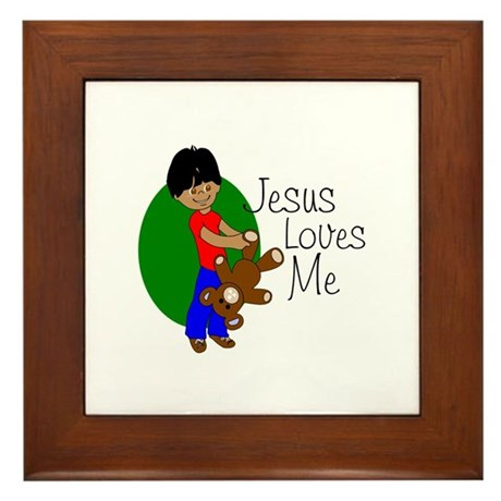 Jesus Loves Me Framed Tile