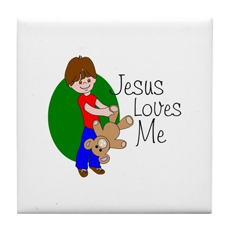 Jesus Loves Me Tile Coaster