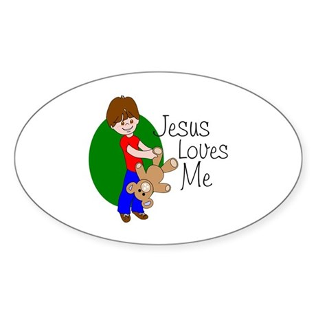 Jesus Loves Me Oval Sticker