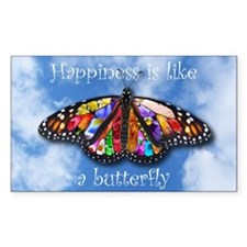 Happiness Is Like A Butterfly Rectangle Decal