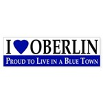 I Love Oberlin (blue bumper sticker)