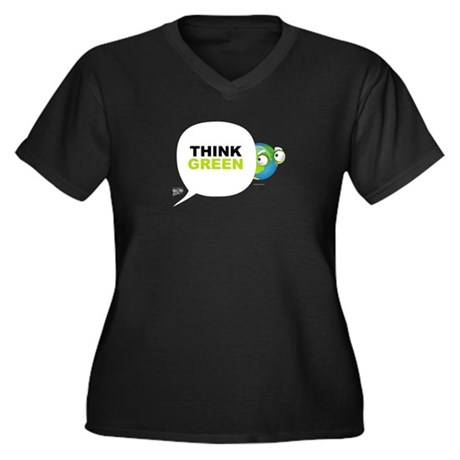 Think Green v3 Women's Plus Size V-Neck Dark T-Shi
