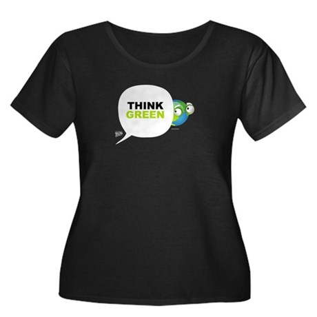 Think Green v3 Women's Plus Size Scoop Neck Dark T