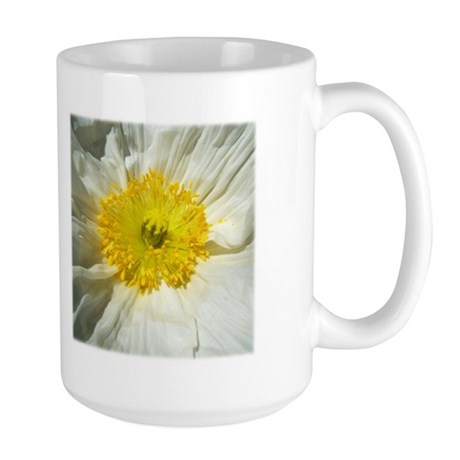 White Icelandic Poppy Large Mug