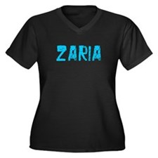 Zaria Faded (Blue) Women's Plus Size V-Neck Dark T