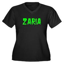 Zaria Faded (Green) Women's Plus Size V-Neck Dark