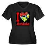 I Love Artists Women's Plus Size V-Neck Dark T-Shi