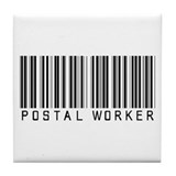 Postal Worker Barcode Tile Coaster