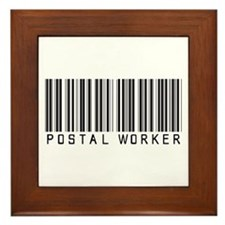 Postal Worker Barcode Framed Tile