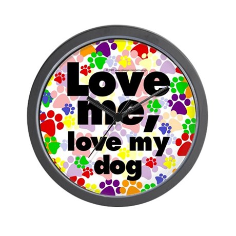 Love me, love my dog Wall Clock