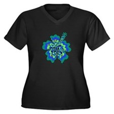 Psychedelic Hibiscus Women's Plus Size V-Neck Dark