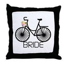 Bicycle Bride Throw Pillow