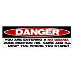 No Obama Zone Bumper Sticker