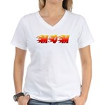 Mom in Flames Women's V-Neck T-Shirt