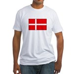 Danish / Denmark Flag Fitted T-Shirt
