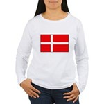 Danish / Denmark Flag Women's Long Sleeve T-Shirt