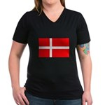 Danish / Denmark Flag Women's V-Neck Dark T-Shirt