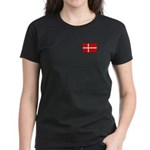Danish / Denmark Flag Women's Dark T-Shirt