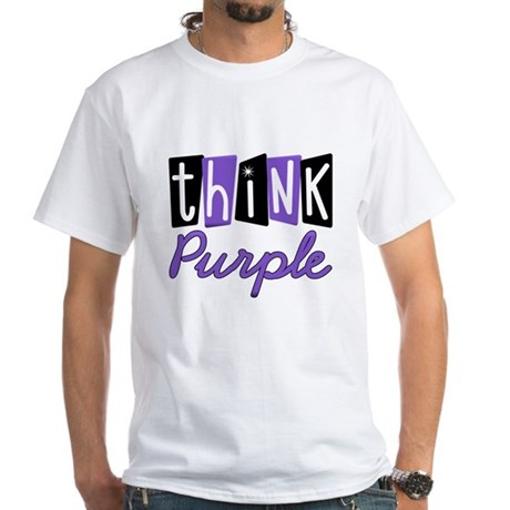 Think Purple White T-Shirt
