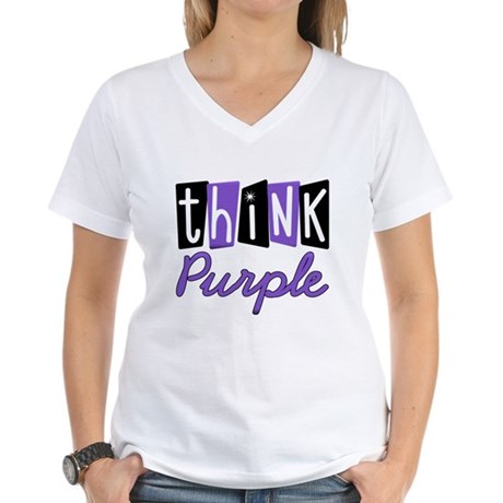Think Purple Women's V-Neck T-Shirt