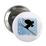 "SKI DOWNHILL (BLUE) 2.25"" Button (10 pack)"