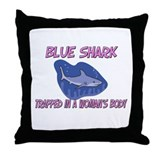 Blue Shark Trapped In A Woman's Body Throw Pillow