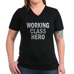 Working Class Hero Women's V-Neck Dark T-Shirt