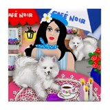AMERICAN ESKIMO DOGS PARIS Tile Coaster