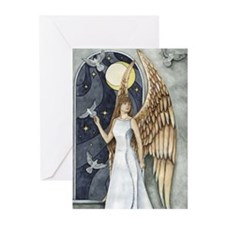 Dove Angel -Night Angel Greeting Cards (Pack of 6)
